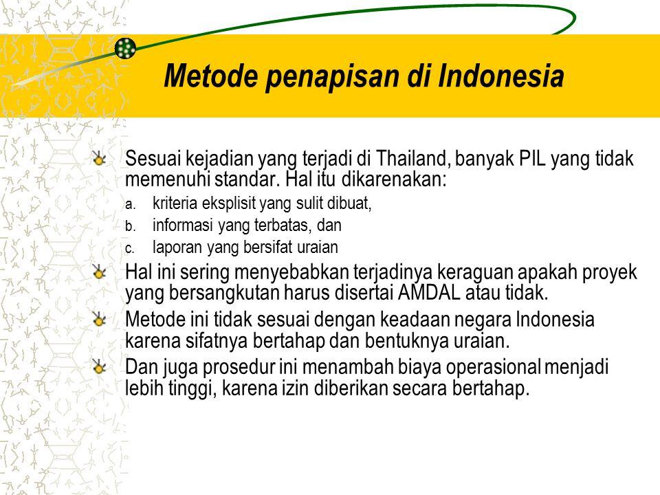Metode penapisan di Indonesia