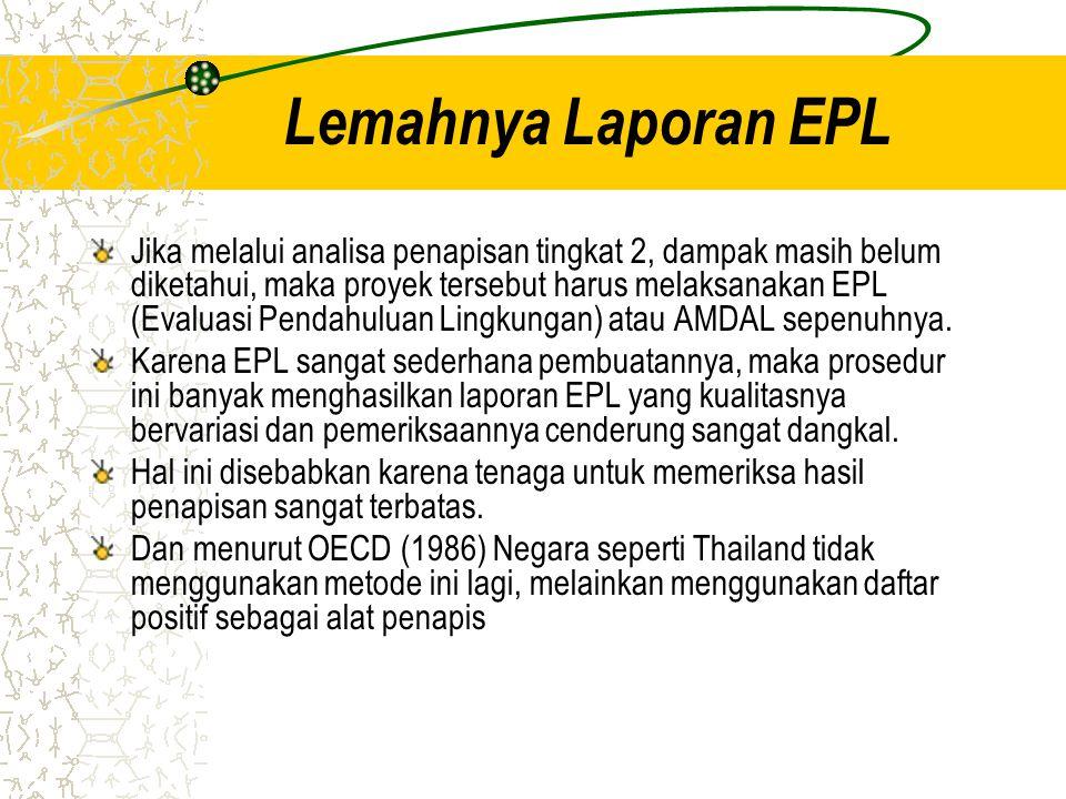 Lemahnya Laporan EPL