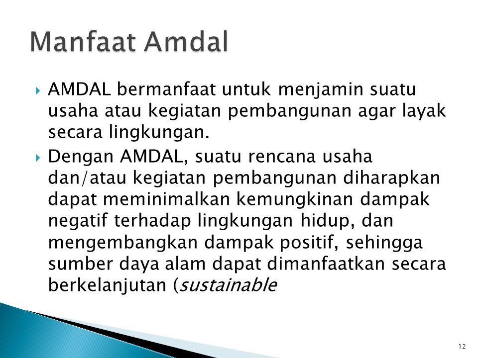 Manfaat Amdal AMDAL bermanfaat untuk menjamin suatu usaha atau kegiatan pembangunan agar layak secara lingkungan.