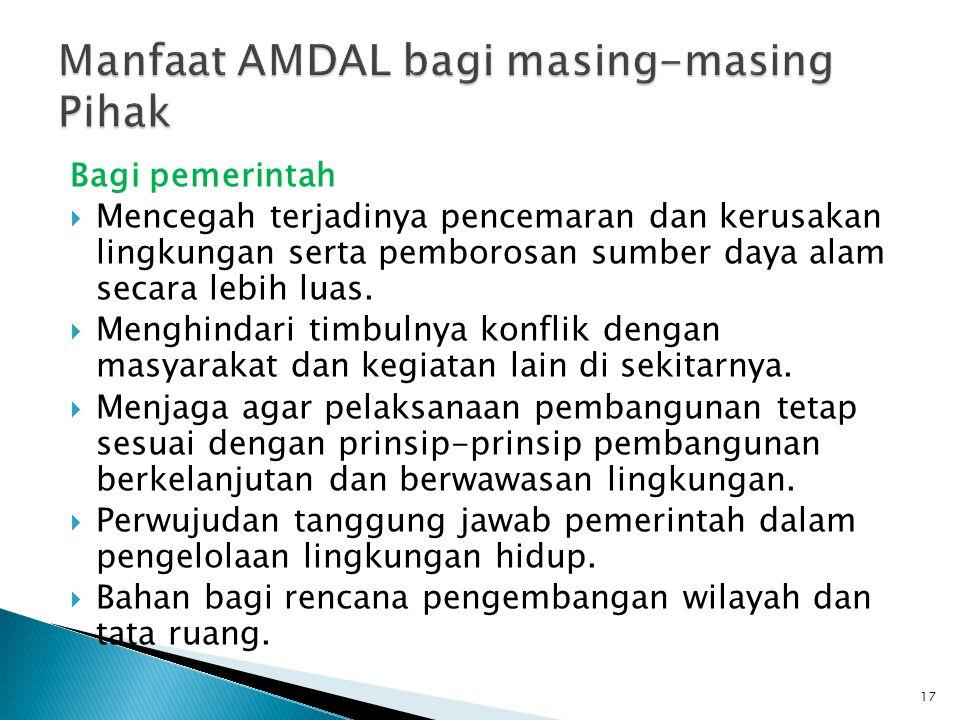 Manfaat AMDAL bagi masing-masing Pihak