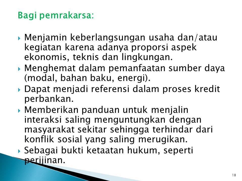 Bagi pemrakarsa: Menjamin keberlangsungan usaha dan/atau kegiatan karena adanya proporsi aspek ekonomis, teknis dan lingkungan.