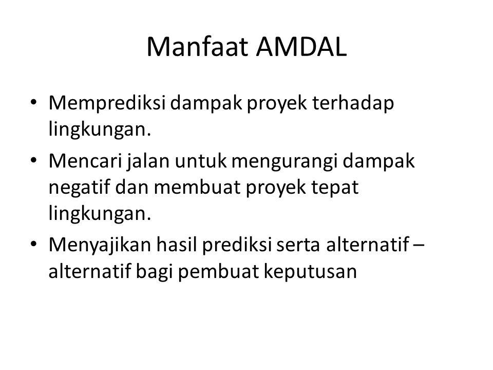 Manfaat AMDAL Memprediksi dampak proyek terhadap lingkungan.