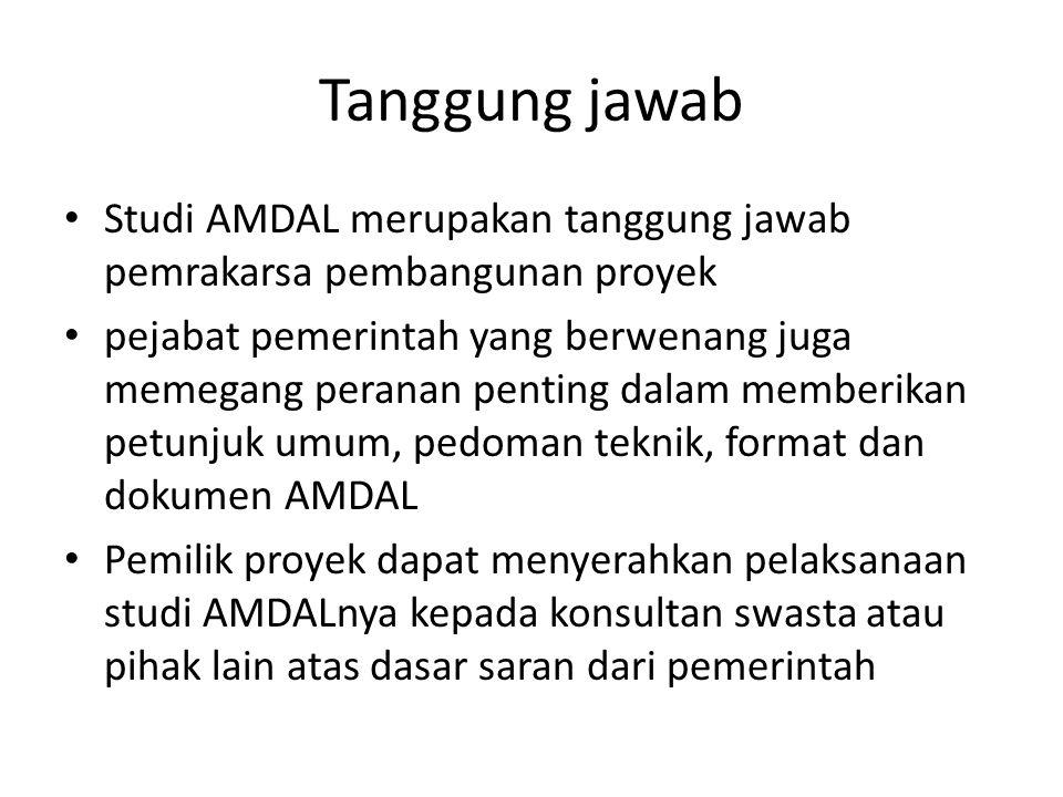 Tanggung jawab Studi AMDAL merupakan tanggung jawab pemrakarsa pembangunan proyek.
