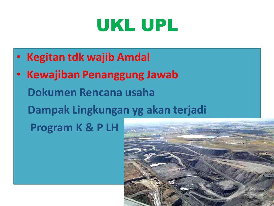 UKL UPL Kegitan tdk wajib Amdal Kewajiban Penanggung Jawab