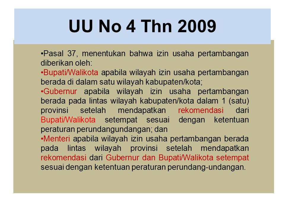 UU No 4 Thn 2009 Pasal 37, menentukan bahwa izin usaha pertambangan diberikan oleh: