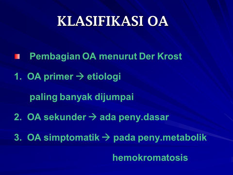 KLASIFIKASI OA Pembagian OA menurut Der Krost 1. OA primer  etiologi