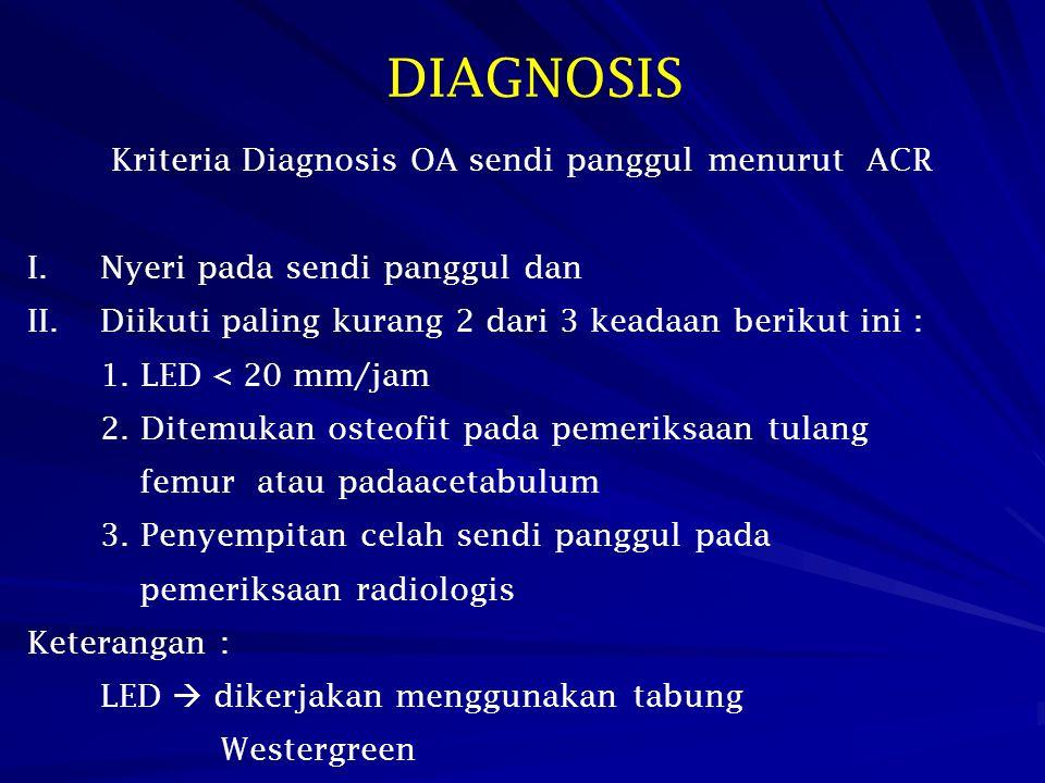 Kriteria Diagnosis OA sendi panggul menurut ACR