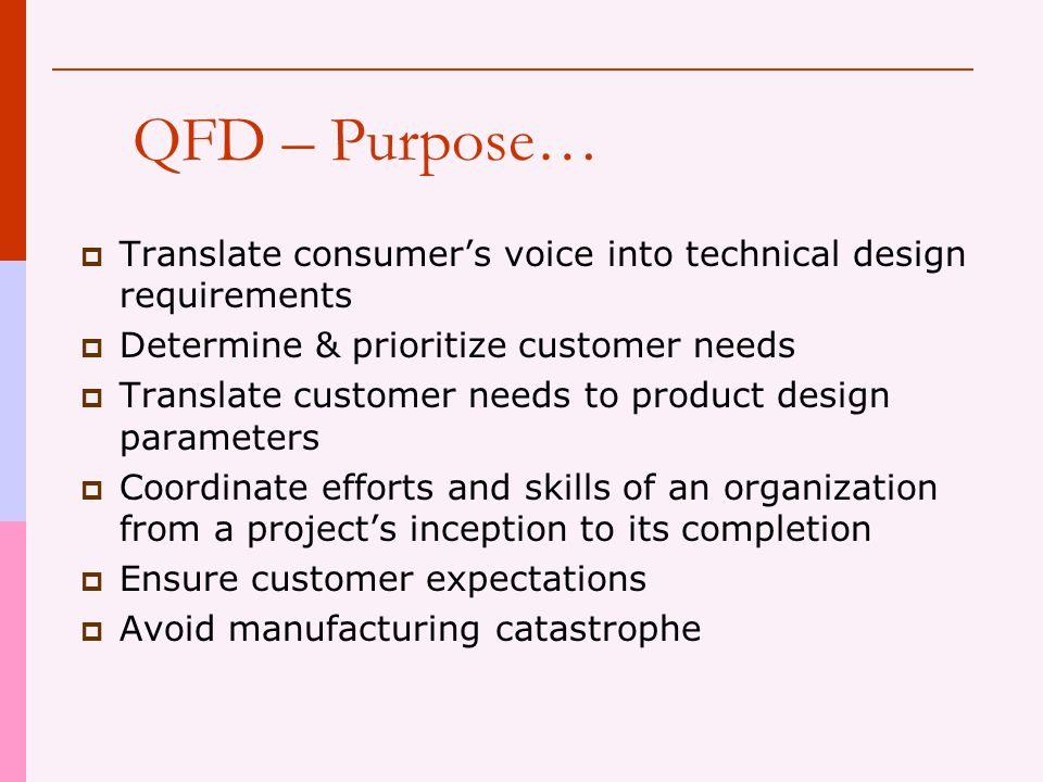 QFD – Purpose… Translate consumer's voice into technical design requirements. Determine & prioritize customer needs.