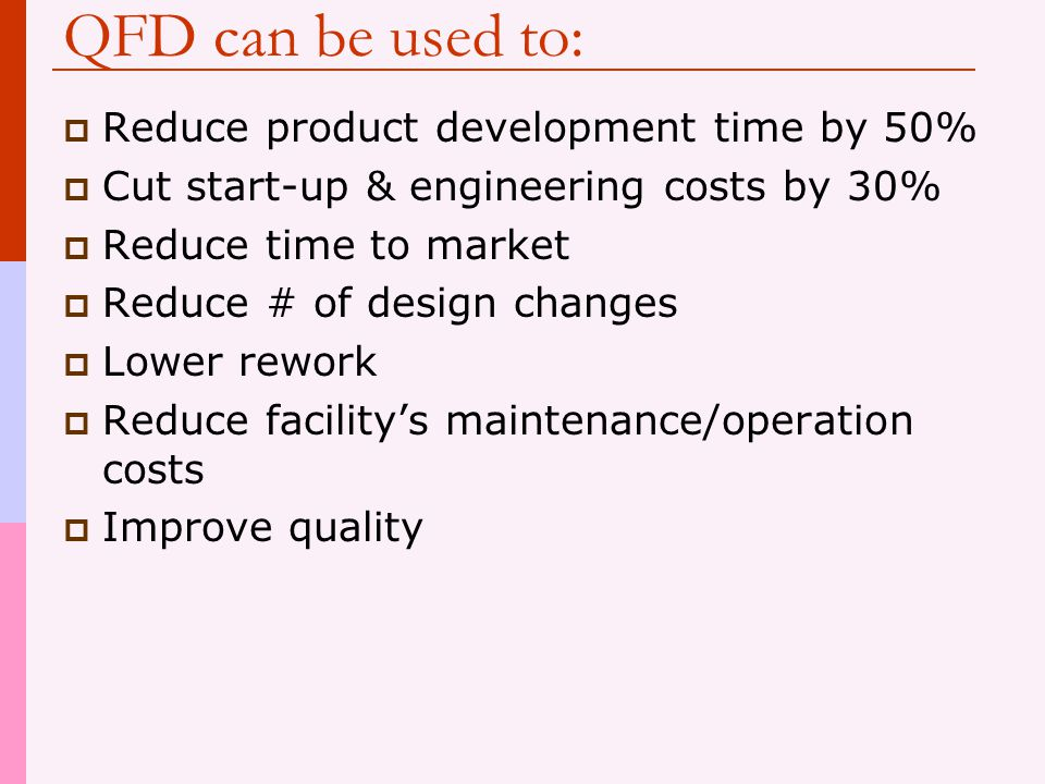 QFD can be used to: Reduce product development time by 50%
