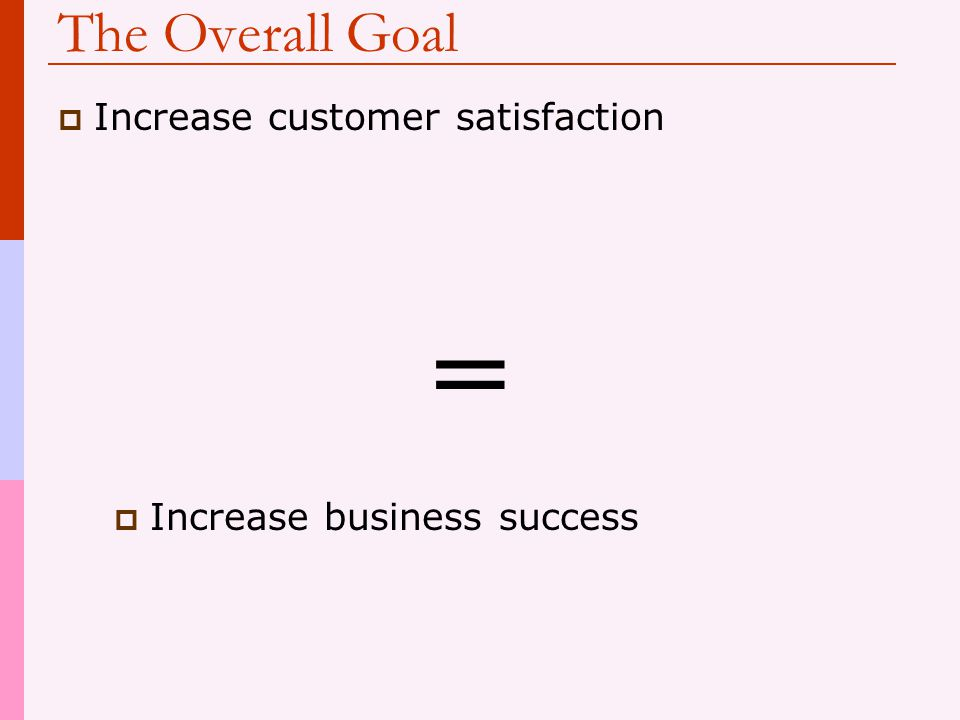 = The Overall Goal Increase customer satisfaction
