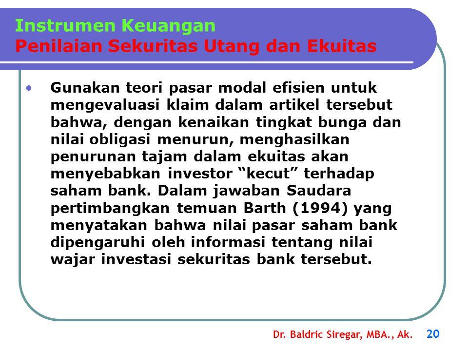 Instrumen Keuangan Penilaian Sekuritas Utang dan Ekuitas