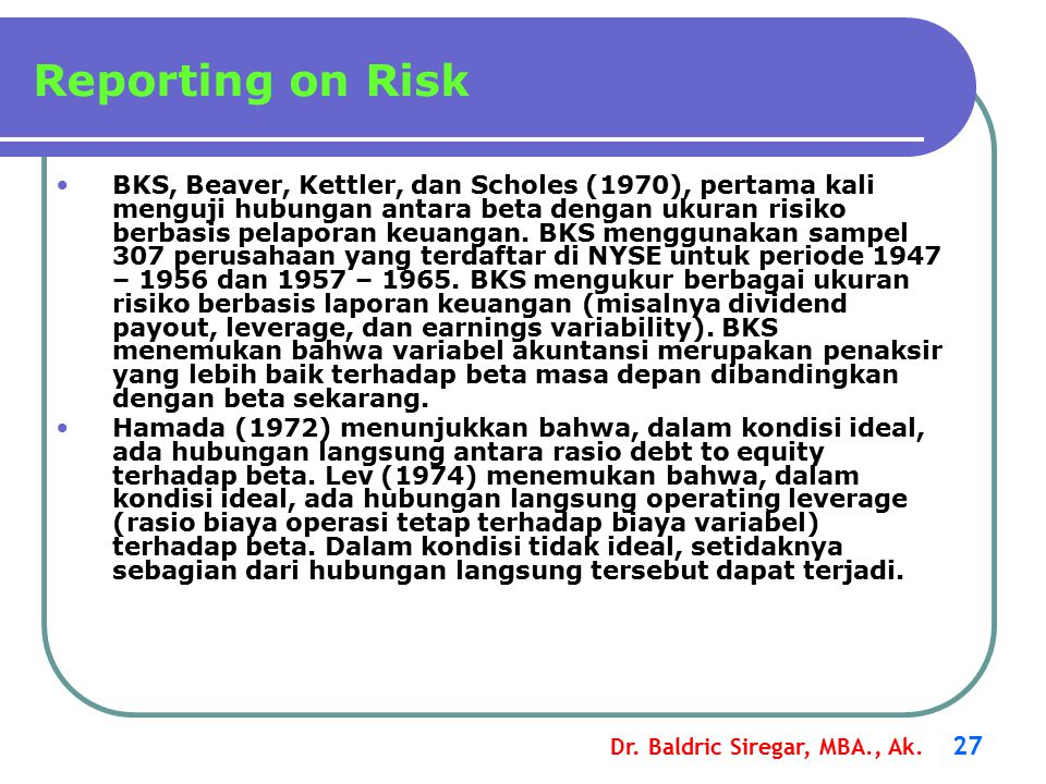 Reporting on Risk