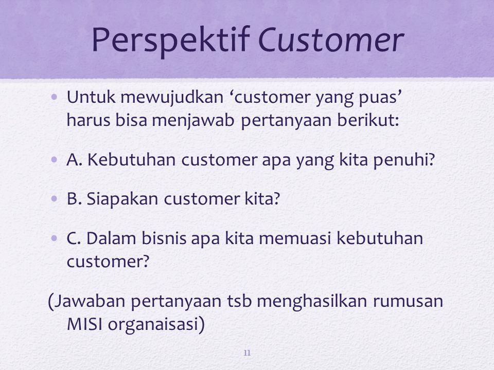 Perspektif Customer Untuk mewujudkan 'customer yang puas' harus bisa menjawab pertanyaan berikut: A. Kebutuhan customer apa yang kita penuhi