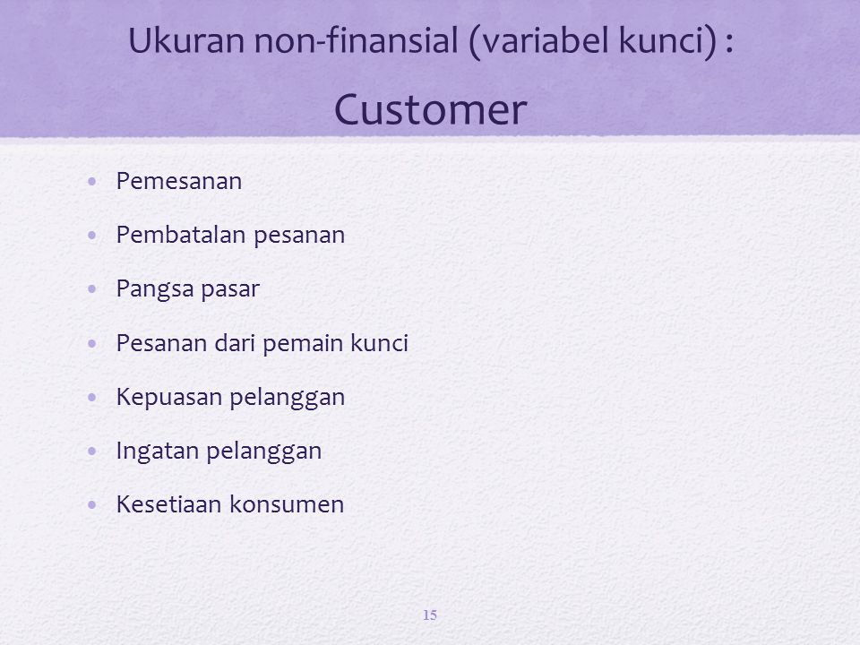 Ukuran non-finansial (variabel kunci) : Customer