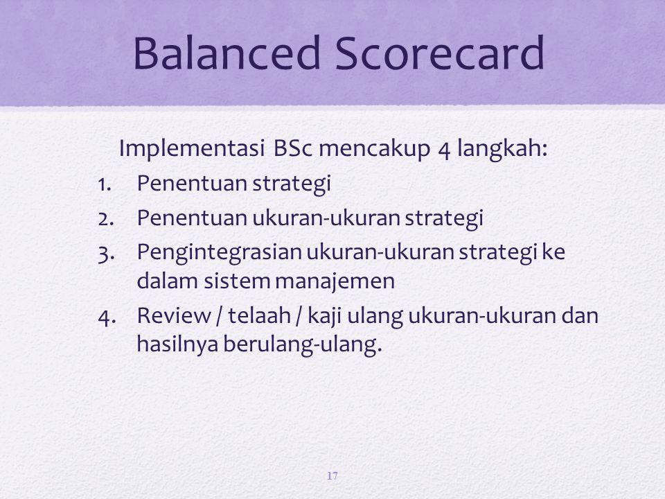 Implementasi BSc mencakup 4 langkah: