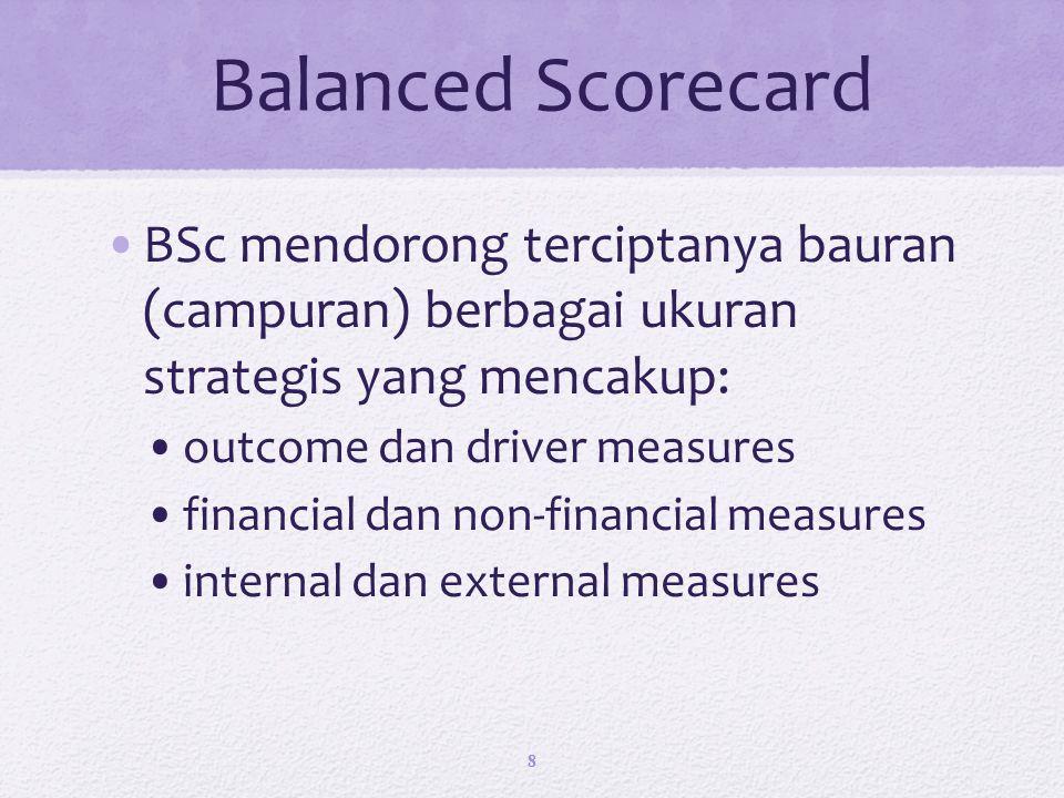 Balanced Scorecard BSc mendorong terciptanya bauran (campuran) berbagai ukuran strategis yang mencakup:
