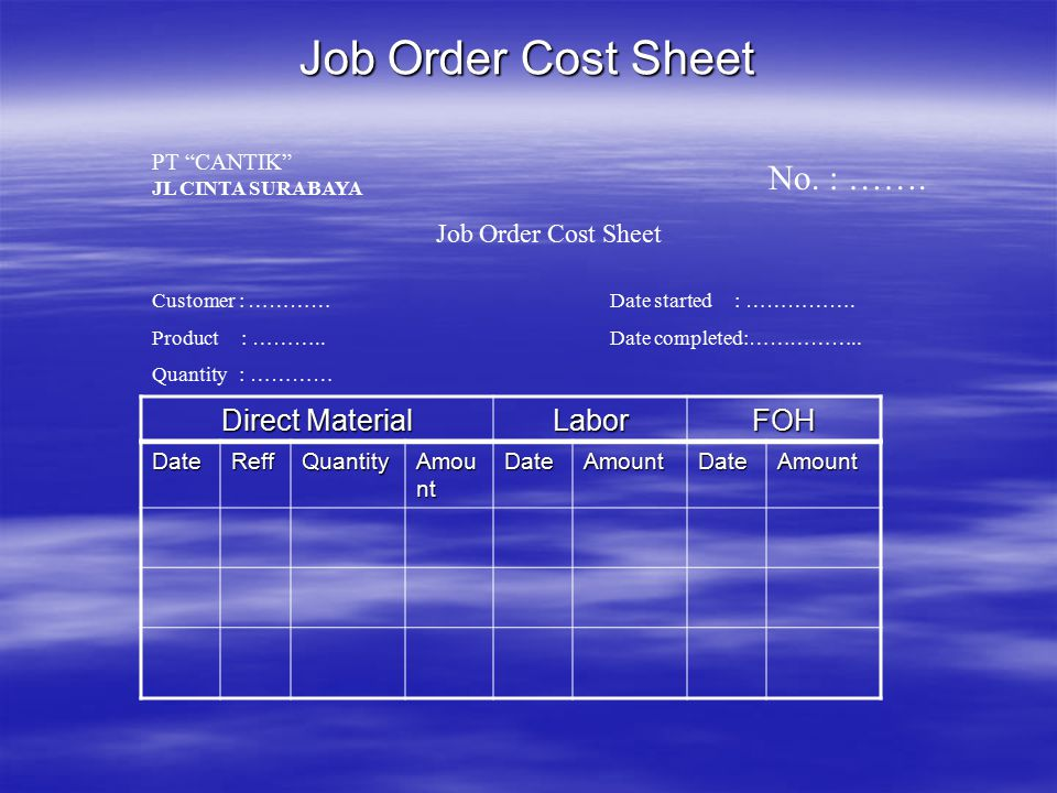 Job Order Cost Sheet No. : ……. Direct Material Labor FOH
