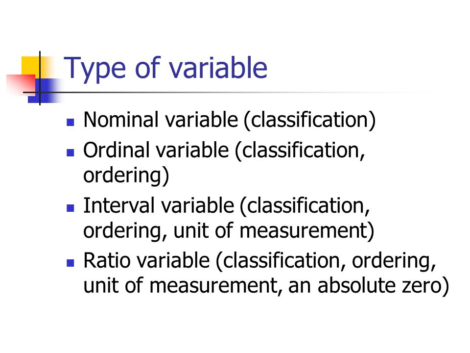 Type of variable Nominal variable (classification)