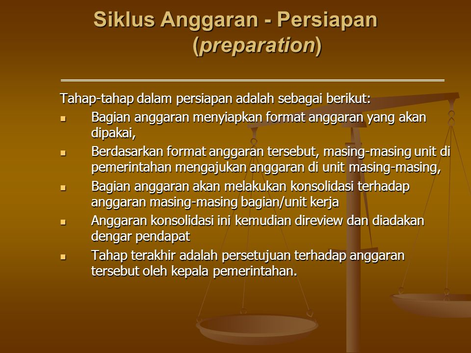 Siklus Anggaran - Persiapan (preparation)