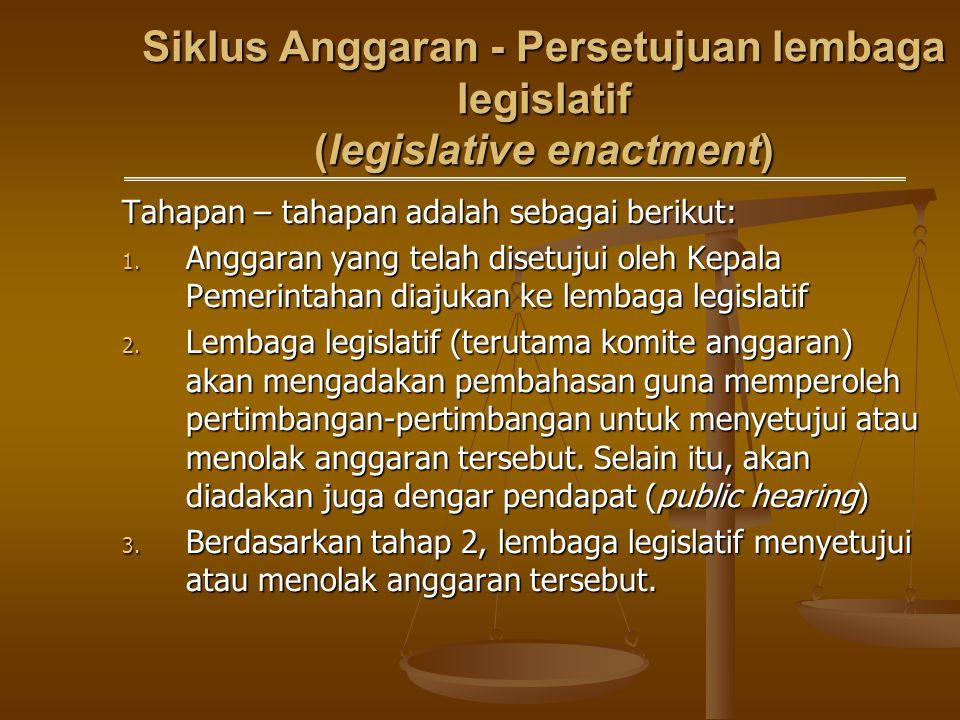 Siklus Anggaran - Persetujuan lembaga legislatif (legislative enactment)