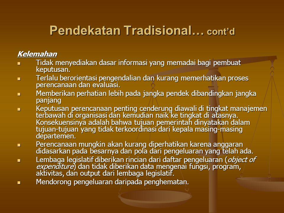 Pendekatan Tradisional… cont'd