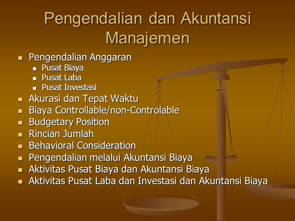 Pengendalian dan Akuntansi Manajemen