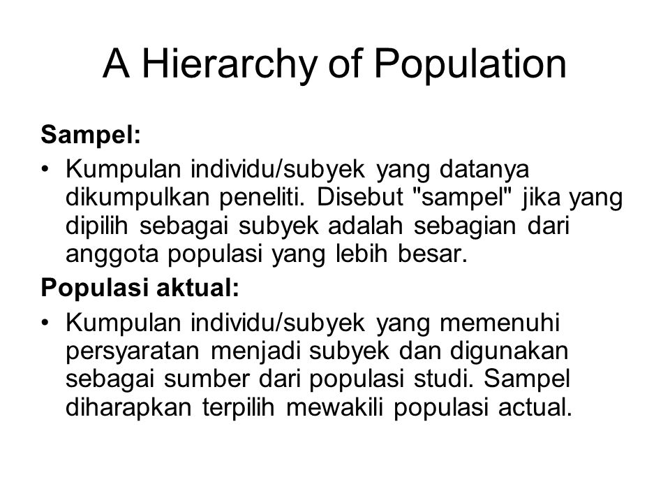 A Hierarchy of Population
