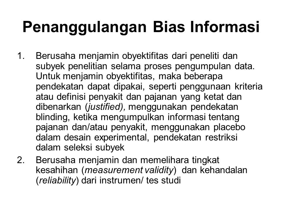 Penanggulangan Bias Informasi