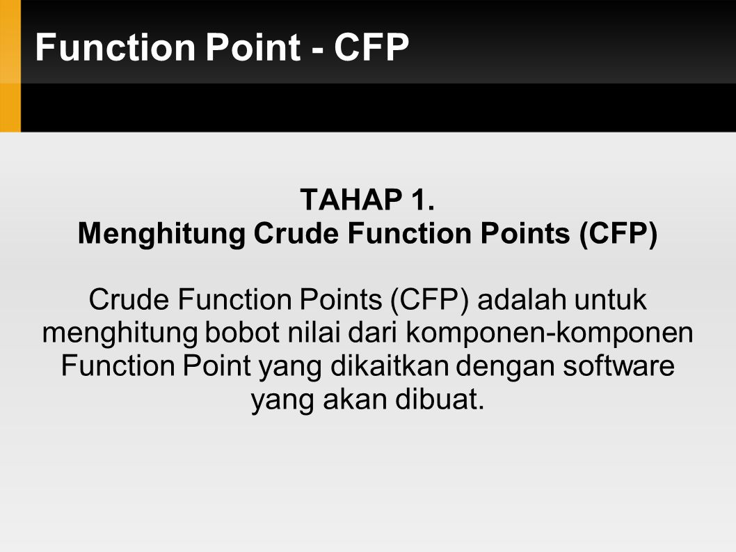 Menghitung Crude Function Points (CFP)
