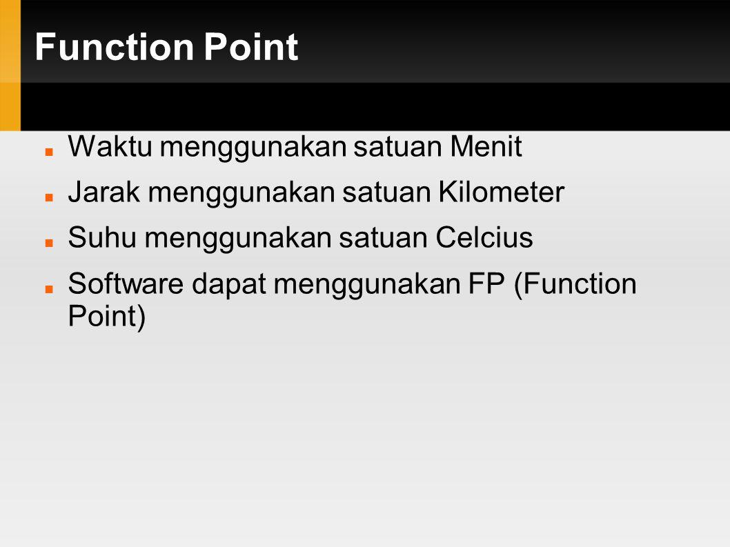 Function Point Waktu menggunakan satuan Menit