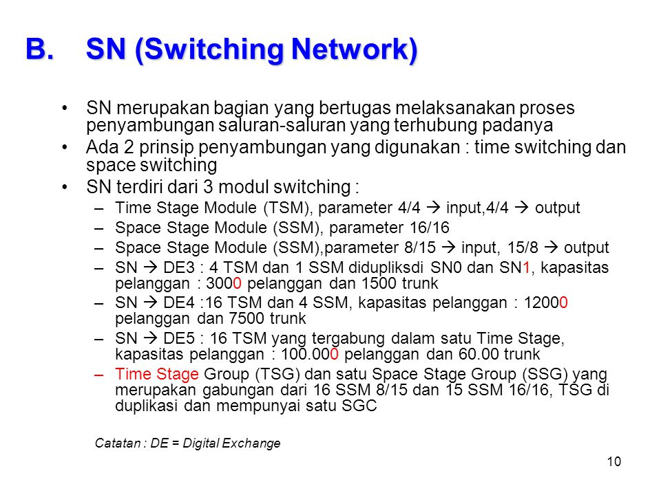 SN (Switching Network)