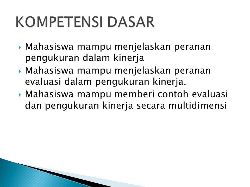 KOMPETENSI DASAR Mahasiswa mampu menjelaskan peranan pengukuran dalam kinerja.