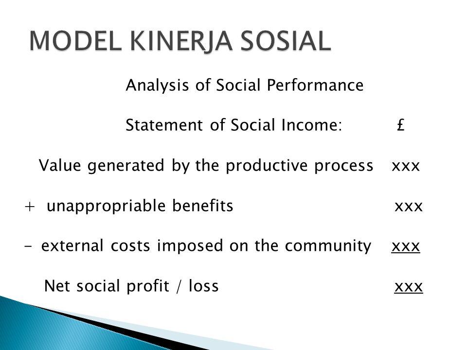 MODEL KINERJA SOSIAL Analysis of Social Performance