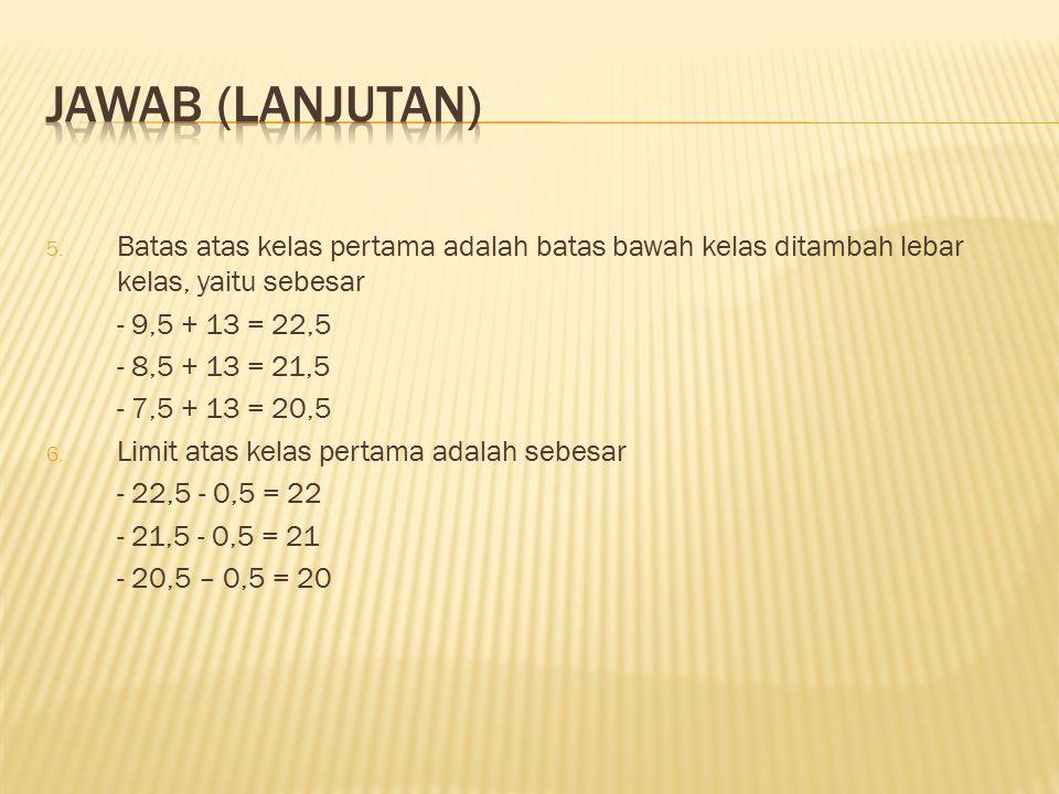 JAWAB (lanjutan) Batas atas kelas pertama adalah batas bawah kelas ditambah lebar kelas, yaitu sebesar.