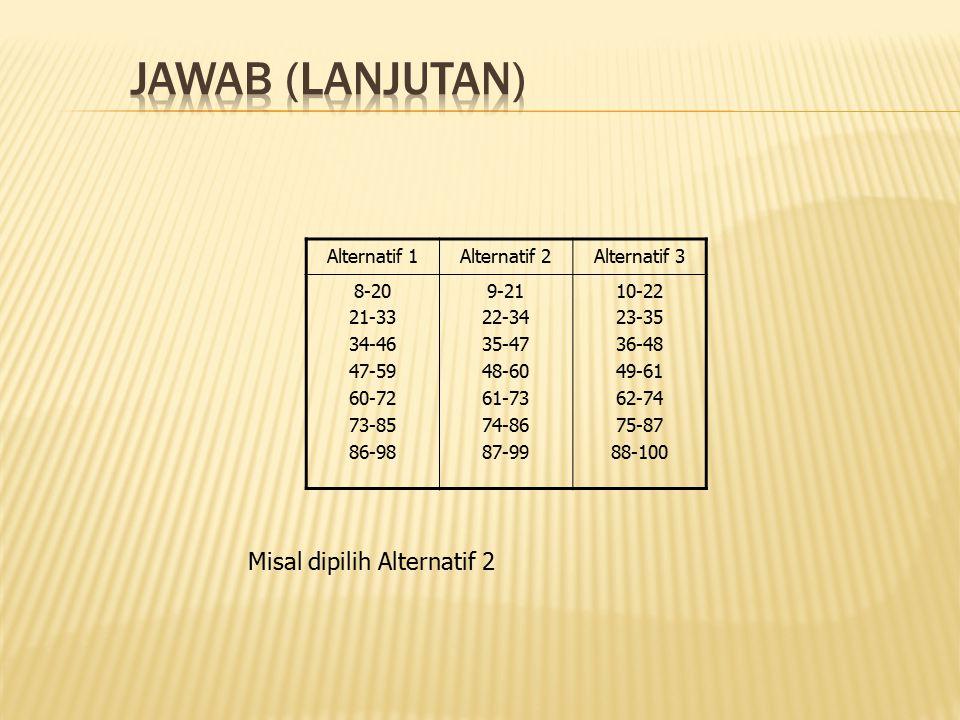 JAWAB (lanjutan) Misal dipilih Alternatif 2 Alternatif 1 Alternatif 2