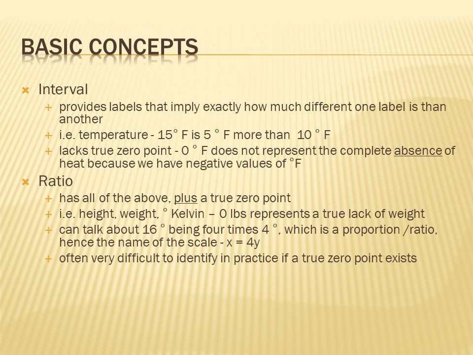 Basic Concepts Interval Ratio