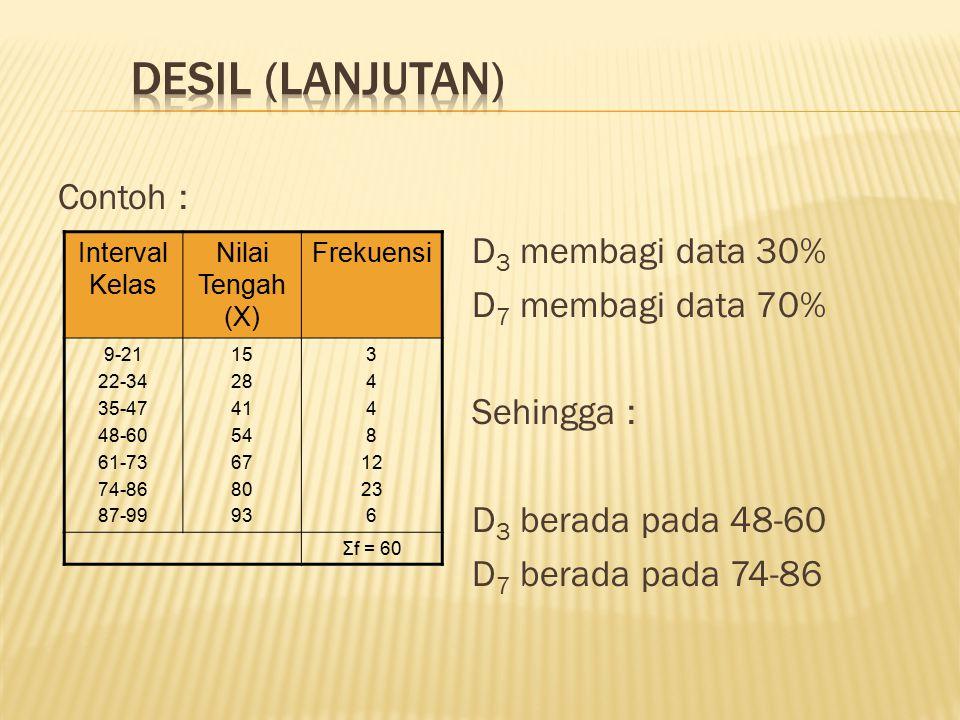 DESIL (lanjutan) Contoh : D3 membagi data 30% D7 membagi data 70%