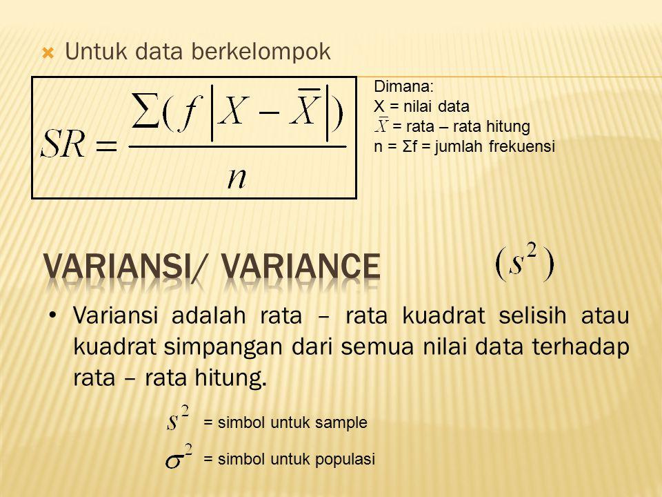VARIANSI/ VARIANCE Untuk data berkelompok