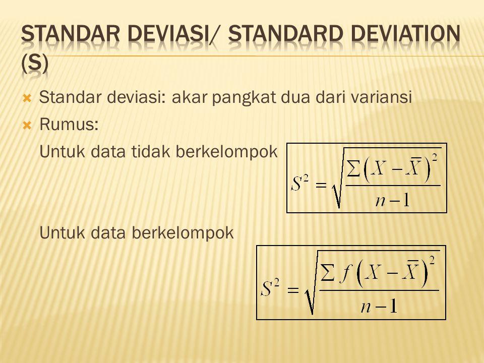 STANDAR DEVIASI/ STANDARD DEVIATION (S)