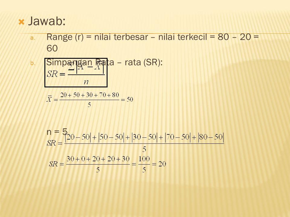 Jawab: Range (r) = nilai terbesar – nilai terkecil = 80 – 20 = 60