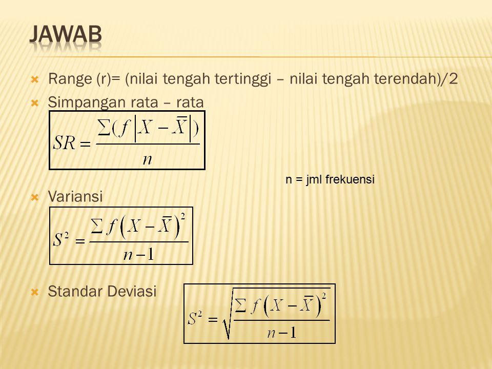 JAWAB Range (r)= (nilai tengah tertinggi – nilai tengah terendah)/2
