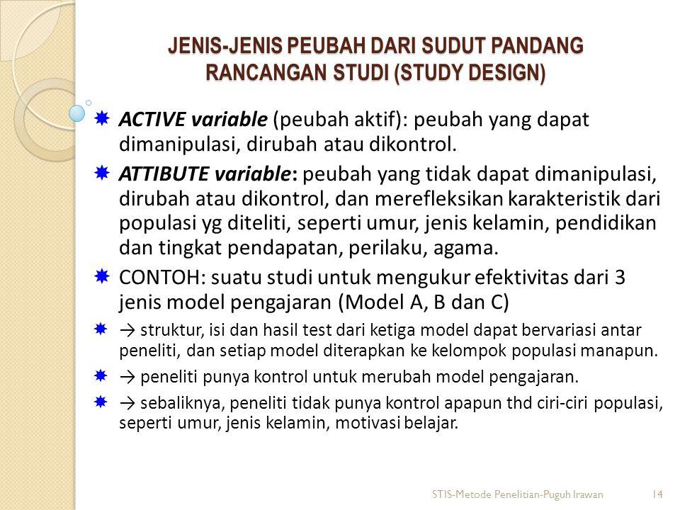 JENIS-JENIS PEUBAH DARI SUDUT PANDANG RANCANGAN STUDI (STUDY DESIGN)