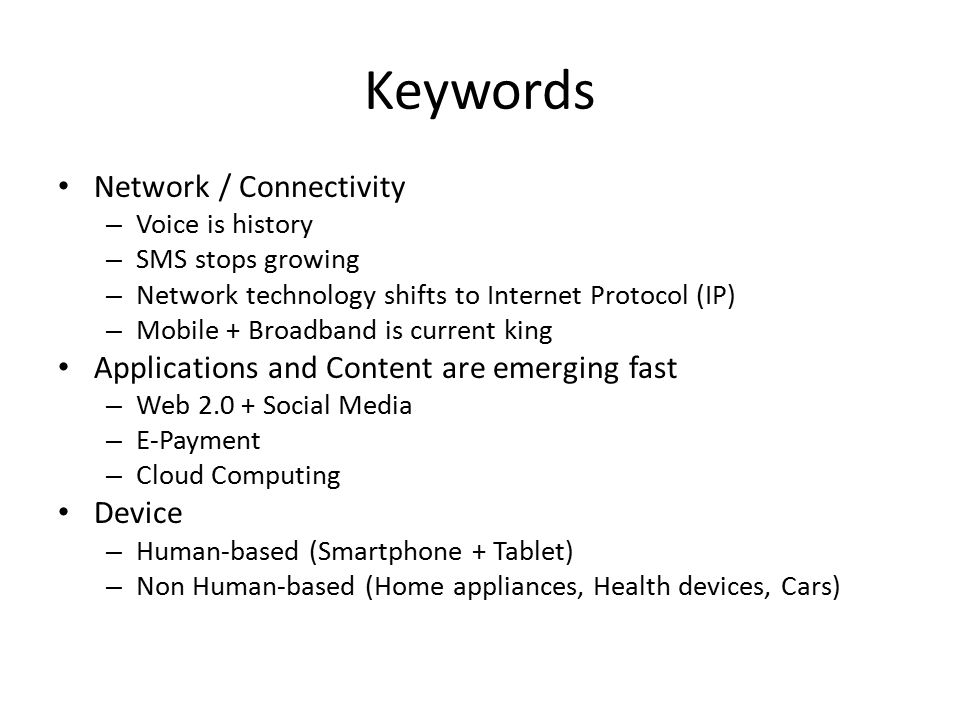 Keywords Network / Connectivity