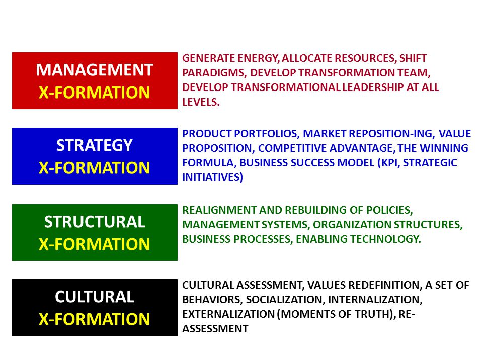 MANAGEMENT X-FORMATION STRATEGY X-FORMATION STRUCTURAL X-FORMATION