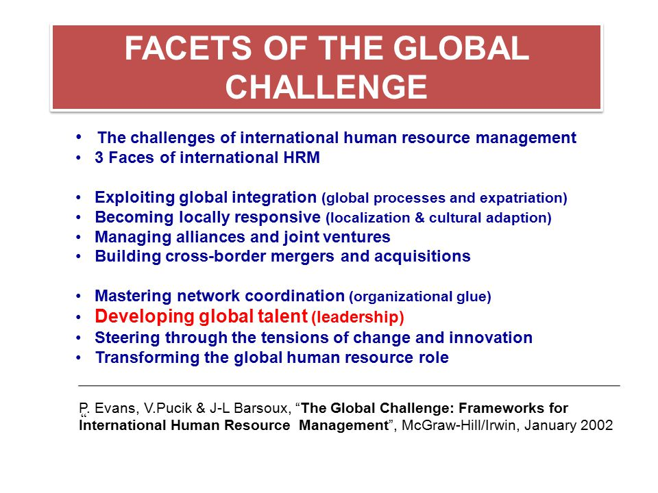 FACETS OF THE GLOBAL CHALLENGE
