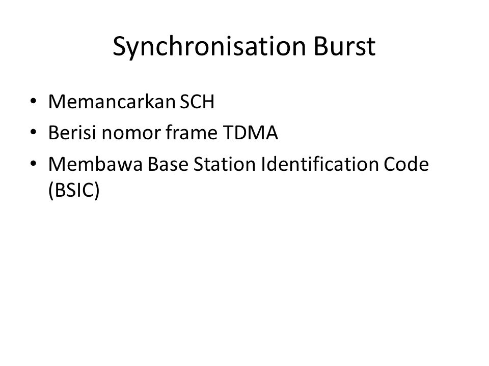 Synchronisation Burst