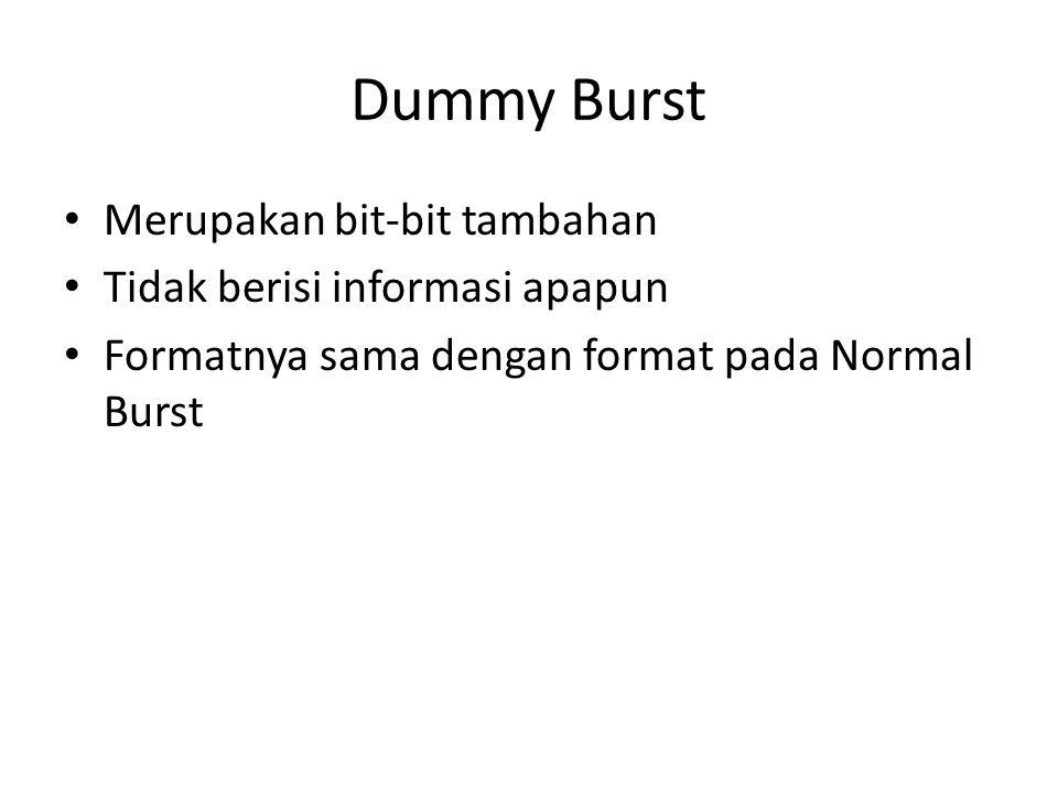 Dummy Burst Merupakan bit-bit tambahan Tidak berisi informasi apapun