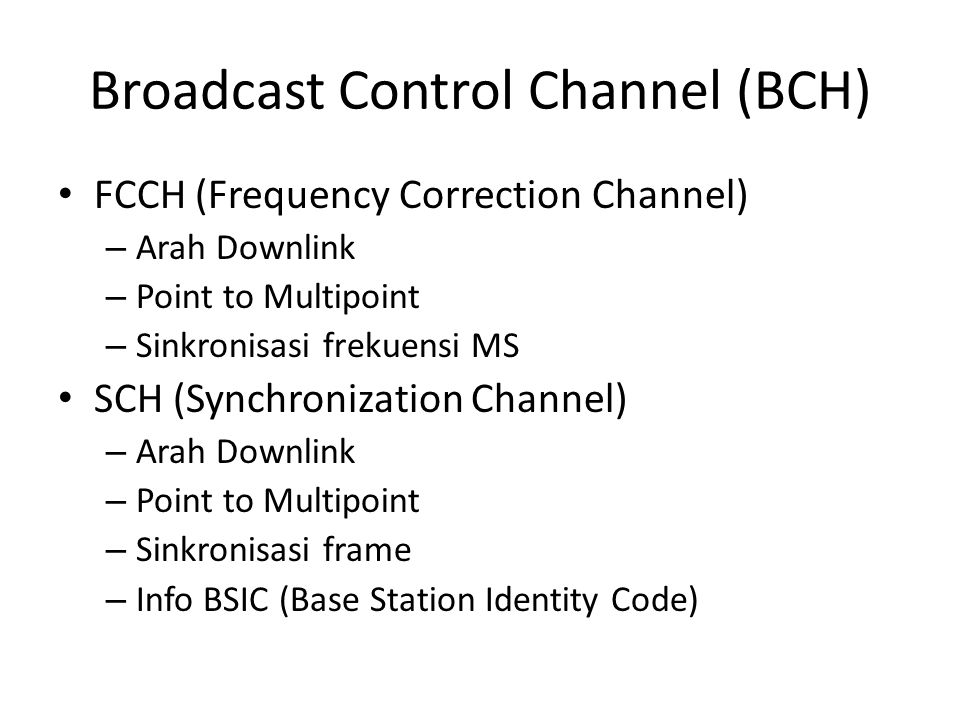 Broadcast Control Channel (BCH)