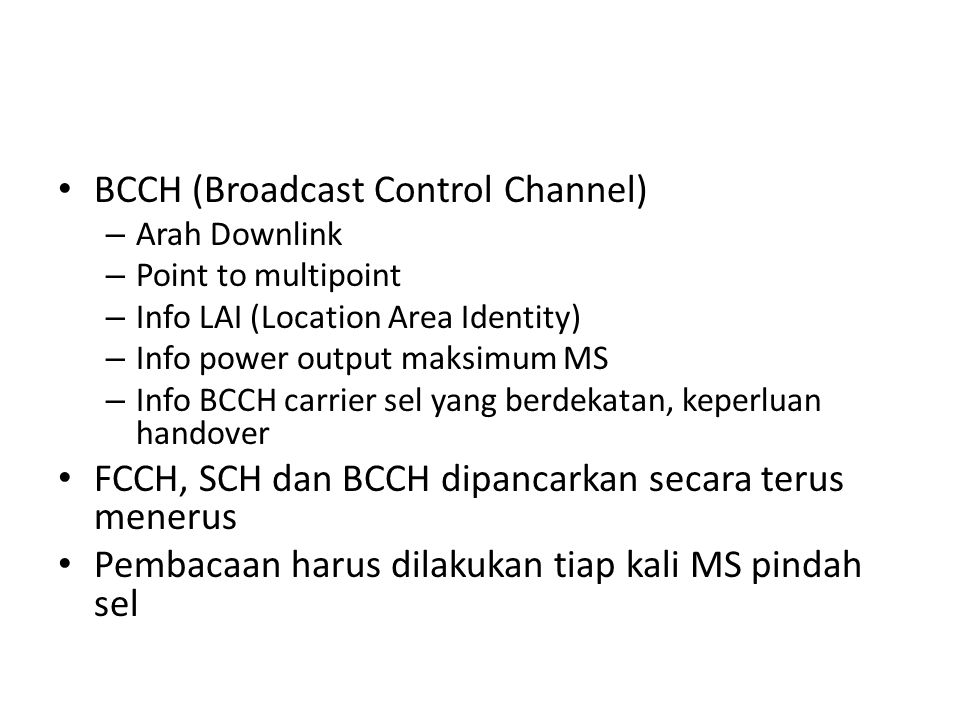 BCCH (Broadcast Control Channel)