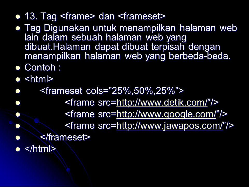13. Tag <frame> dan <frameset>